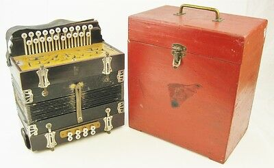 Antique G H Concertina or Accordion 8 Reed 21 Button German Mother of Pearl