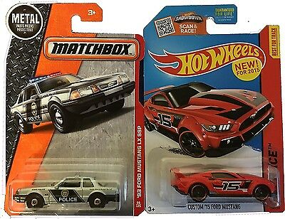 2016 Matchbox Metal '92 Ford Mustang LX SSP Police Car & Hot Wheels Custom 2015