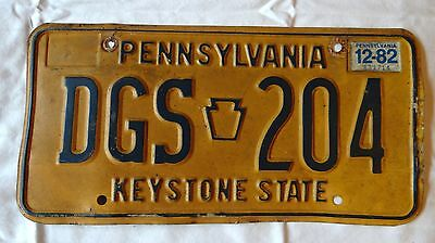 Vintage Pennsylvania PA Penna License Plate Tag DGS204 1982  Registration