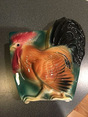 Vintage Royal Copley Rooster Chicken Planter Wall Pocket FAST SHIP! NICE! LOOK!