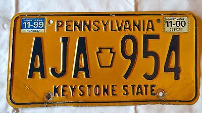 Vintage Pennsylvania PA Penna License Plate AJA954 1999 2000    Reg. Tag Sticker