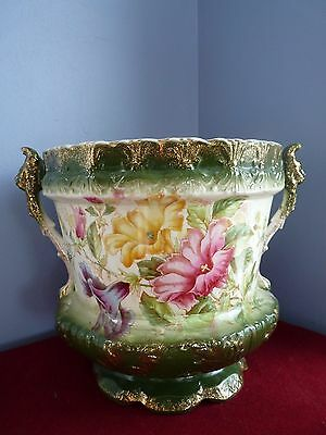 Gorgeous antique porcelain vase planter marked Petunia - green and pink - Rare!