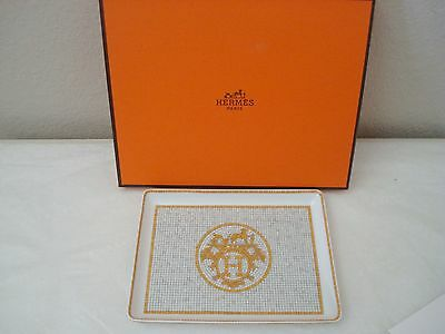 Hermes Mosaique au 24 Yellow Gold Porcelain Sushi Plate Rectangular With Box