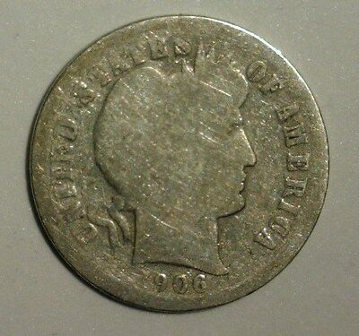 1906   Silver  Barber  Dime   Circulated  Nice Looking Coin!!