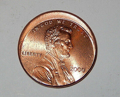 Off Center Lincoln penny error coin, full date 2000 cent, very nice