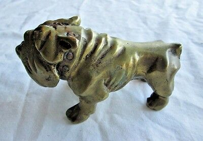 "Vintage English Bull Dog Figure Solid Brass ""castilian Imports C 1978"""