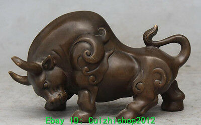 """8"""" China Chinese Bronze Carved Animal Stronger Cattle ox Cattle bull Oxen Statue"""