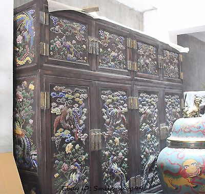 Old China Wood Cloisonne Phoenix Peacock Wardrobe Armoire Cupboard Cabinet Pair