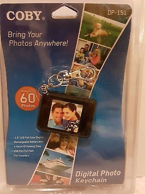 """Coby Digital Photo Keychain Dp-151 Holds 60 Photos -1.5"""" Color Display Black"""