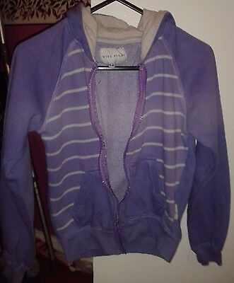 Girls purple & white striped hoodie age 9-10