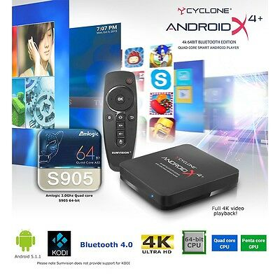 Sumvision Cyclone Android X4+ Quad Core 4K 64Bit Multi Mediaplayer Usb Wi-Fi Hd