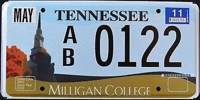 """TENNESSEE """" MILLIGAN COLLEGE """"  TN Graphic License Plate"""