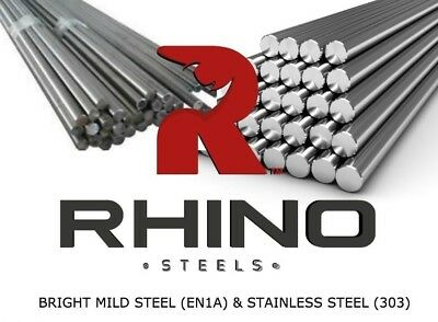 Bright Mild Steel Round Bar 3mm to 60mm - EN1A - Rod - 50-1000mm