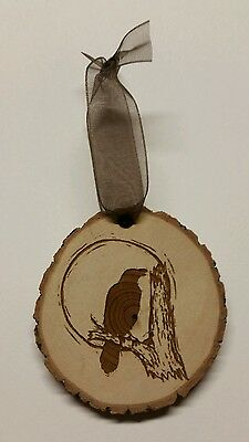 Rustic Country wood Crow Christmas  Ornament