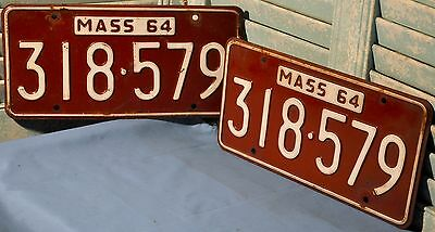 1964 Pair Massachusetts License Plates 64 MA Tags Mass 318 579