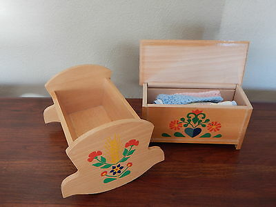 Vtg Swedish Honey Color Wooden Cradle and Chest