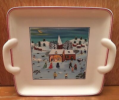 """Villeroy and Boch Naif Christmas Square 8"""" Cake Cookie Plate Nice EUC"""