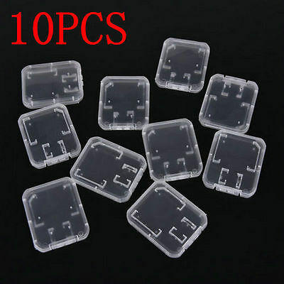 10PCS Transparent Case Holder Box Storage for Standard SD SDHC Memory Card