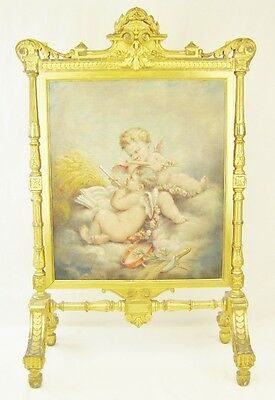 Antique Signed Hand Painted Cherubs Putti on Fabric Fireplace Screen Wood Frame