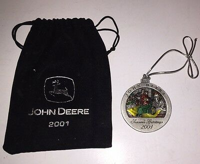 2001 John Deere Pewter Christmas Ornament- 6th in series- New in pouch
