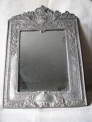 LARGE Vintage Antique ORNATE SILVERPLATE Framed Mirror