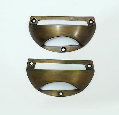 "2.95"" 2 pcs Vintage Retro BIN Hole Pull Handle Solid Brass Cabinet Drawer Handle"