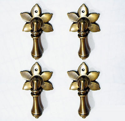 Lot of 4 pcs Vintage Atg Solid Brass FAIRY TEAR DROP Cudgel Handle Pull KNOBS