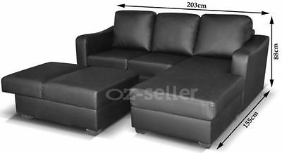 New PU Leather Corner Sofa Suite Lounge Couch Furniture Chaise Set