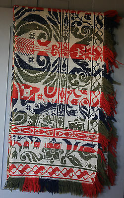 "1800's American Woven Homespun Wool Coverlet 90"" X 80"" In Bold Blue, Red & Green"