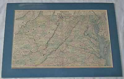 17.5x24.5 Vtg Virginia & West Virginia Color Lithograph Print Map Matted Frame