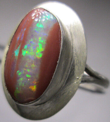 AMAZING NATURAL AUSTRALIAN RED OPAL Sterling Silver ring size 10