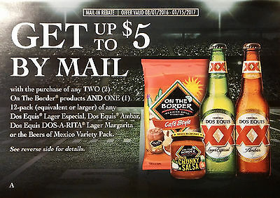 NEW (4) $5 Dos Equis/On The Border Products NBPR Beer Rebate Offer #DE161571