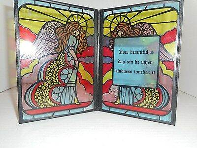 Stained Glass Double Frame Angel Picture with Inspirational Message