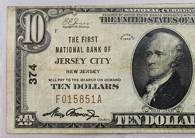 1929 $10 National Bank Note  Jersey City Nj  Charter #374 Type 1 F015851A