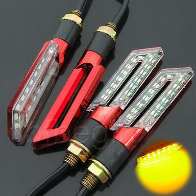 4x 15 LED Motorcycle Turn Signal Lights Indicator Blinker Amber Brake Tail Lamp