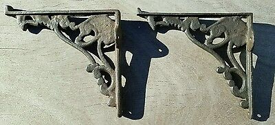 "Matching Pair of Cast Iron Antique Shelf Mantel Brackets 7"" X 7 1/2"" Ornate"