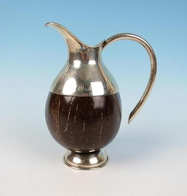 Vintage Mexican or South American Sterling Silver Coconut Pitcher Mid-Century