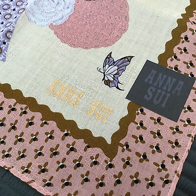 "ANNA SUI NEW 100% Cotton Flower Handkerchief Size 19.5"" Made in Japan"