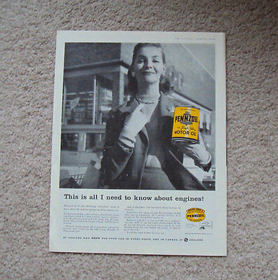"""1958 Advertisement, Pennzoil """"This is all I need to know about engines!"""""""