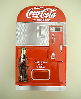 Coca-Cola Dispenser, metal box with hinged lid, scale model.