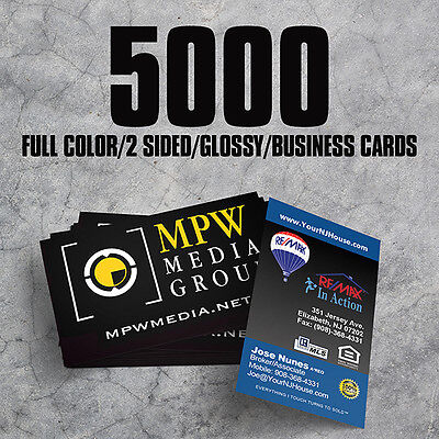 5000 16pt Full Color High Gloss UV 2 Sided Business Cards  - FREE Shipping!