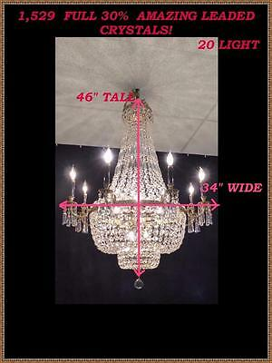 "Vintage Antique Brass French Empire Double Basket Chandelier 20 Light  34""x46"""