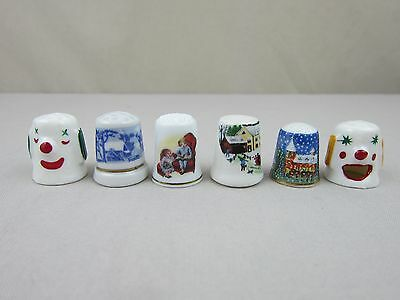 Lot of 6 Vintage Christmas THIMBLES, AVON Rockwell 1983, Winter Scene