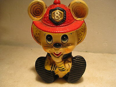 Vintage handpainted coin bank - Mouse Firefighter