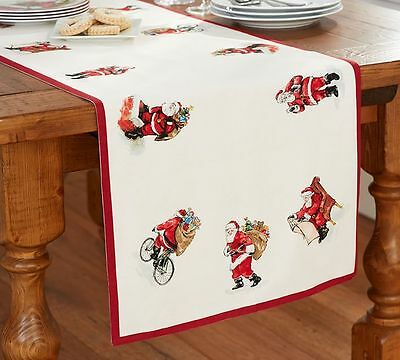 Pottery Barn Painted Santa  Christmas Table runner 18 X 108 New tag