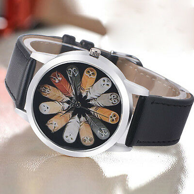 Womens Fashion Watches Owl Dial Leather Casual Analog Quartz Vogue Wrist Watches