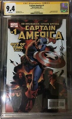 Captain America #1 Cgc Ss 9.4 Signed By Steve Epting