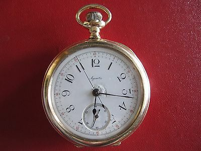 Antique Agassiz Chronograph gold filled pocket watch Swiss running
