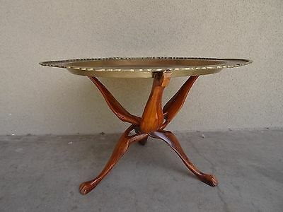 VTG Brass Mid Century Moroccan Tray Top Coffee Table Folding Teak Base
