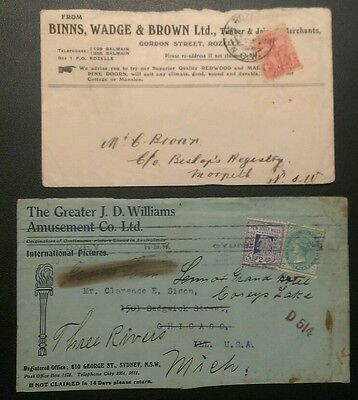 NSW ADVERTISING COVERS 1912 1d & 2 1/2d